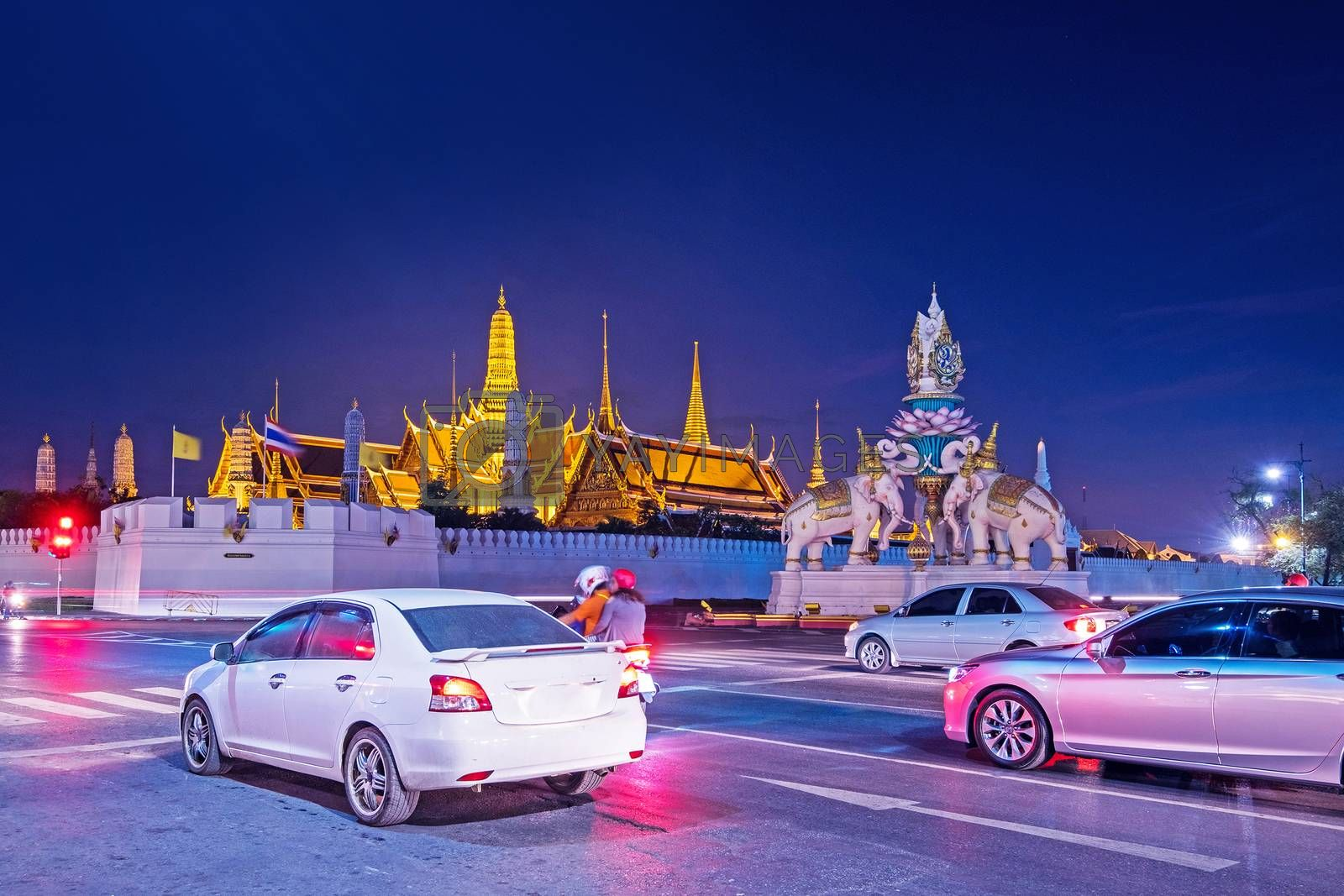 Traffic jam Wat Phra Kaew (The Emerald Buddha) night view in Thailand