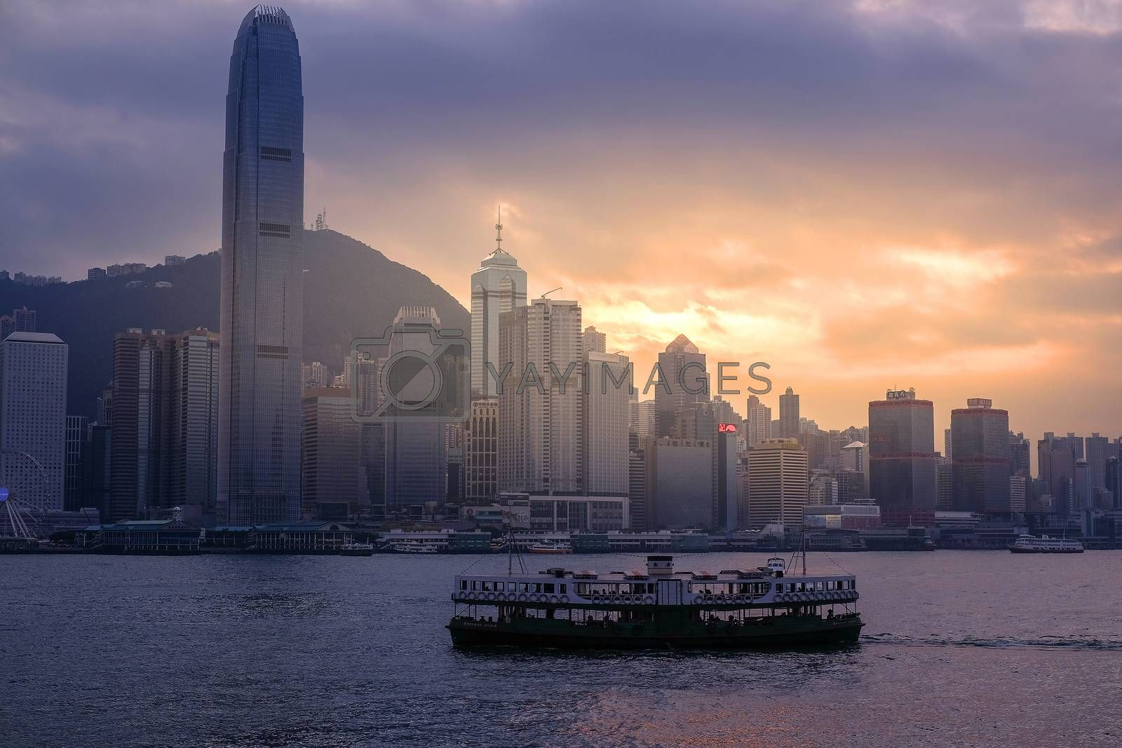 Sunset in Hong Kong harbor