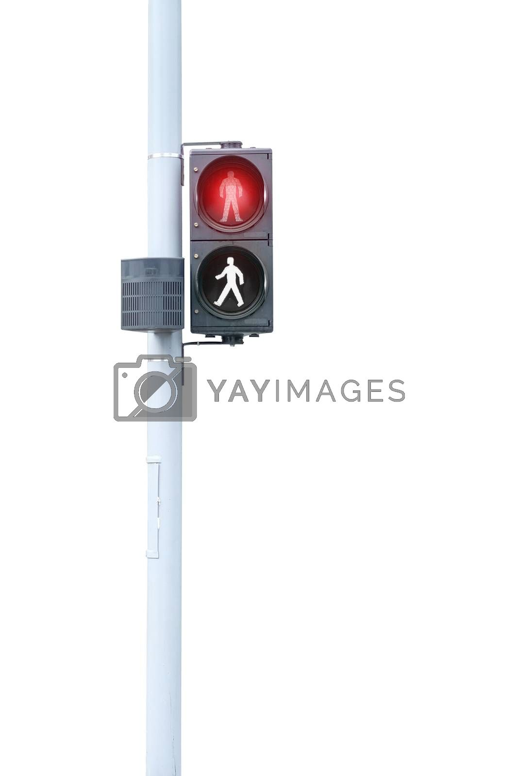Traffic lights, Red signal, Stop on white background with clipping path