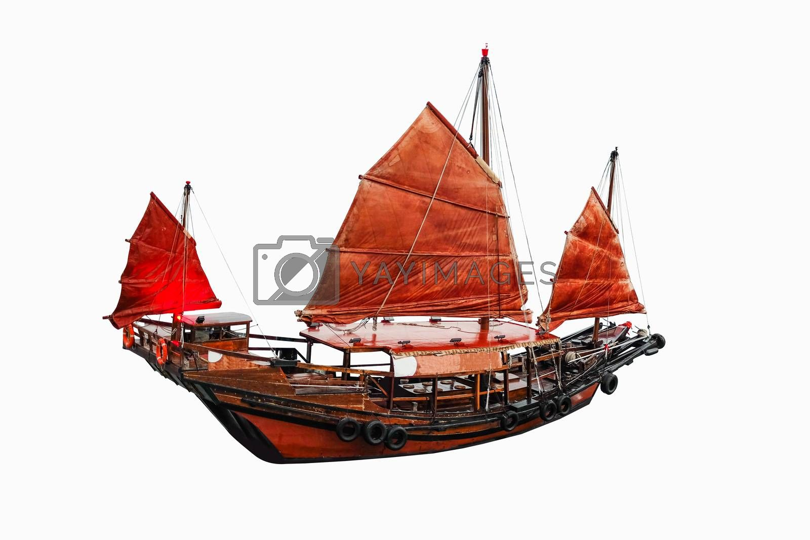 Sailboat red flag in Hong Kong on white background with clipping path