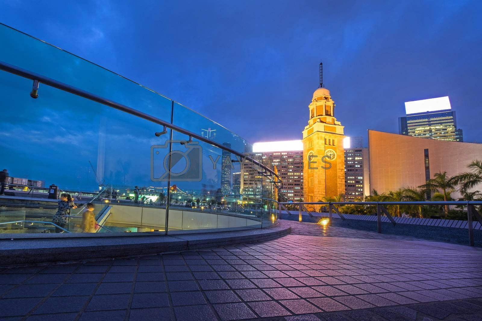 Night view Old Clock Tower in Hong Kong