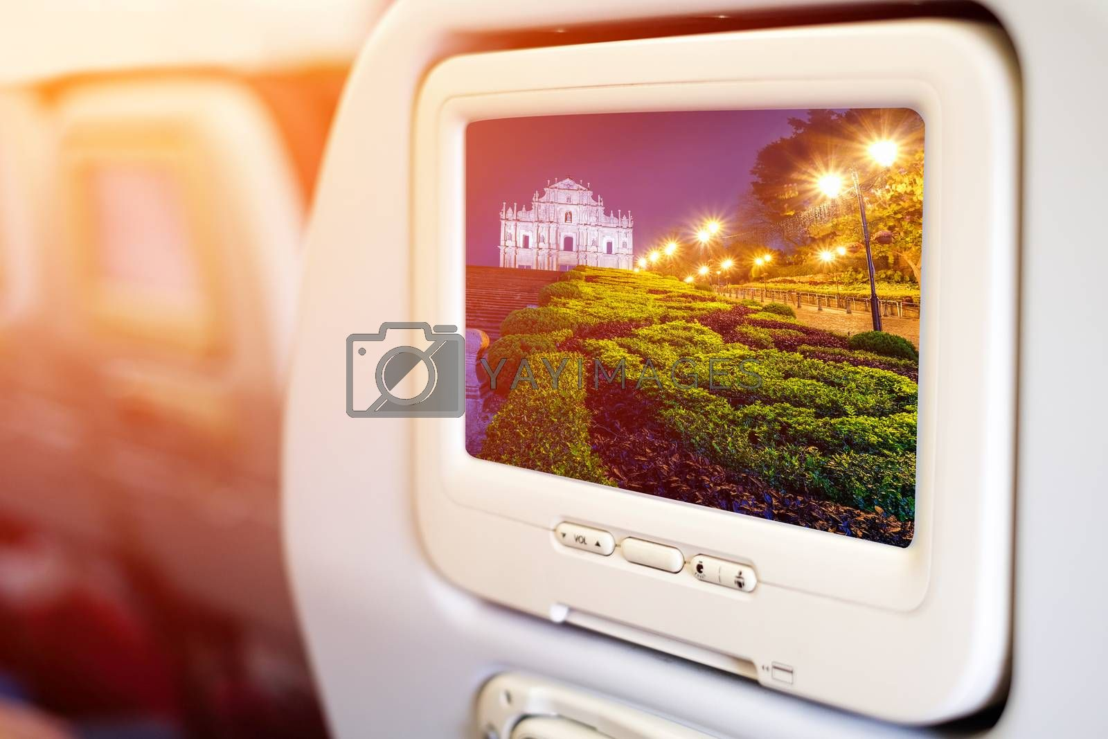 Aircraft monitor in passenger seat on Ruins of St. Paul's, one of Macau most famouse landmark