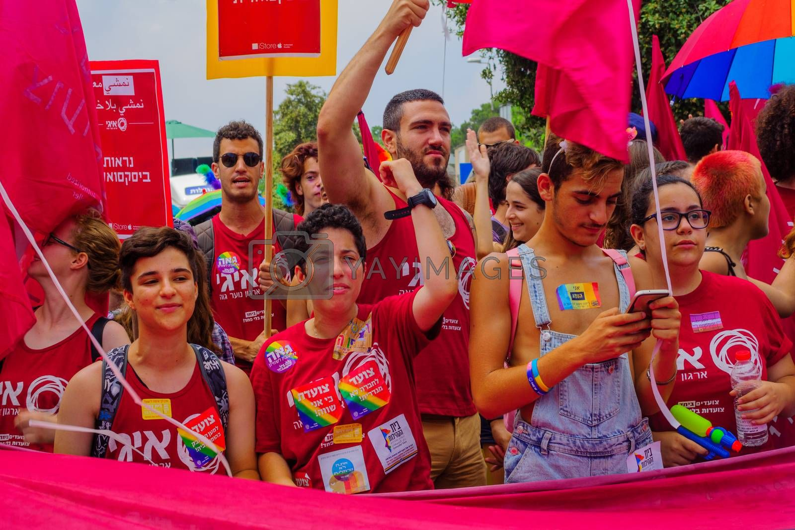 HAIFA, Israel - June 30, 2017: People march in the annual pride parade of the LGBT community, in the streets of Haifa, Israel