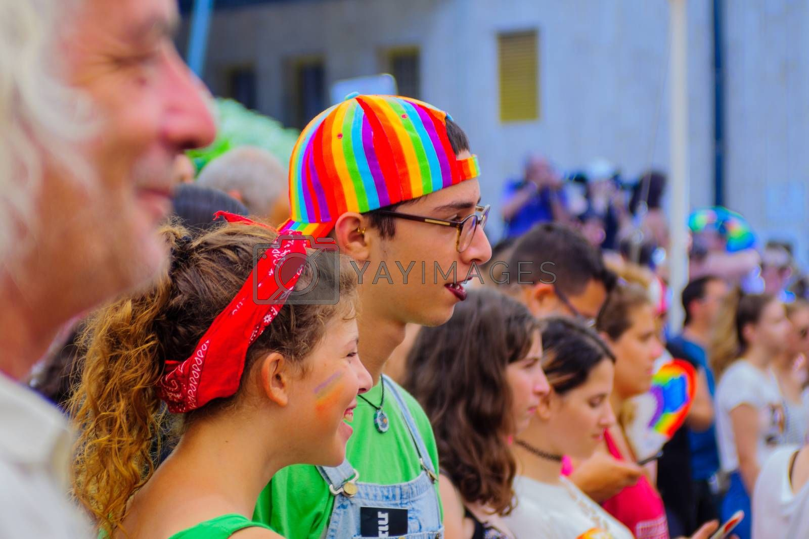 HAIFA, Israel - June 30, 2017: Participants in the annual pride parade of the LGBT community, in the streets of Haifa, Israel