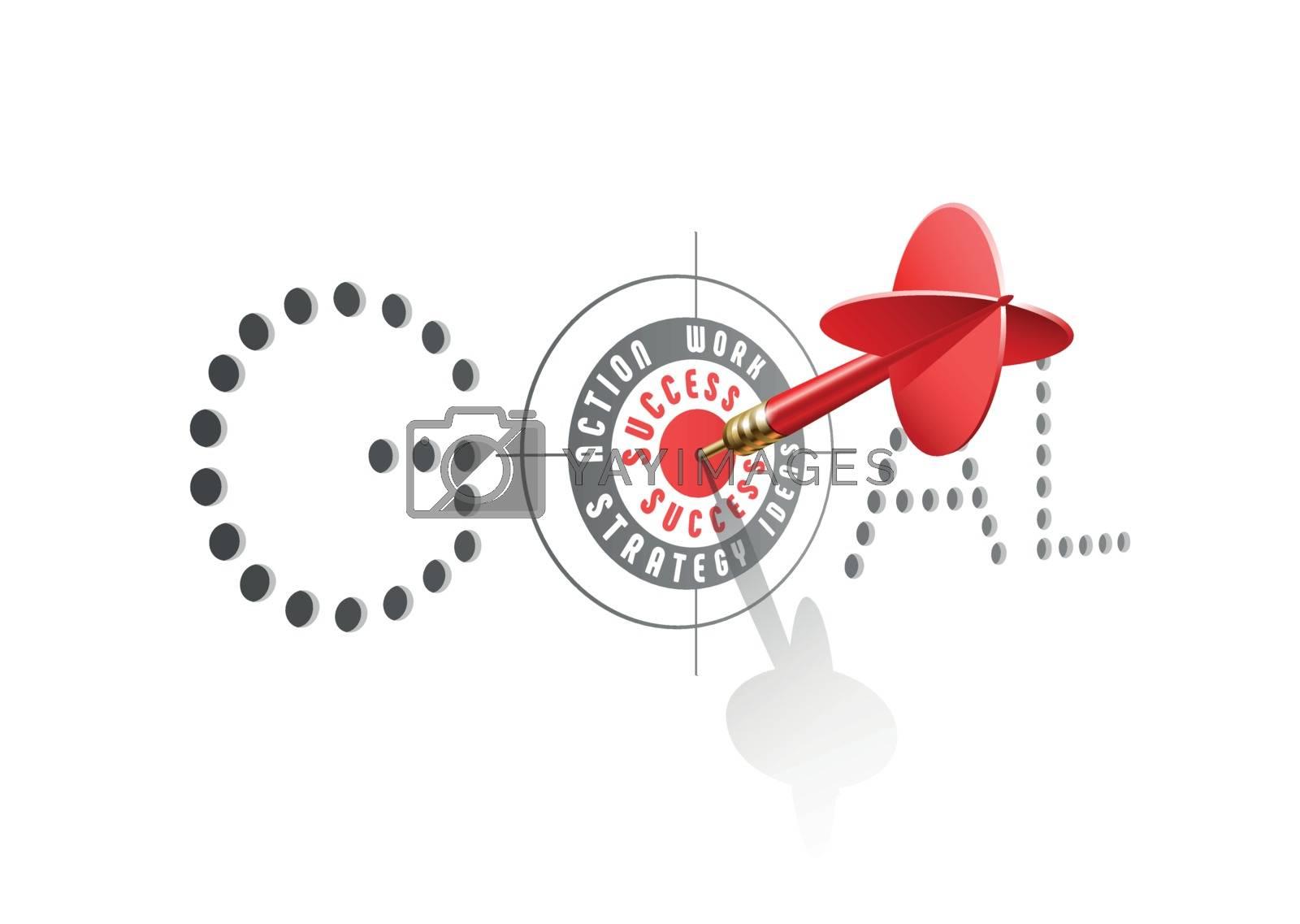 Goal Success concept. Red dart hitting center of Business Target. Vector illustration.