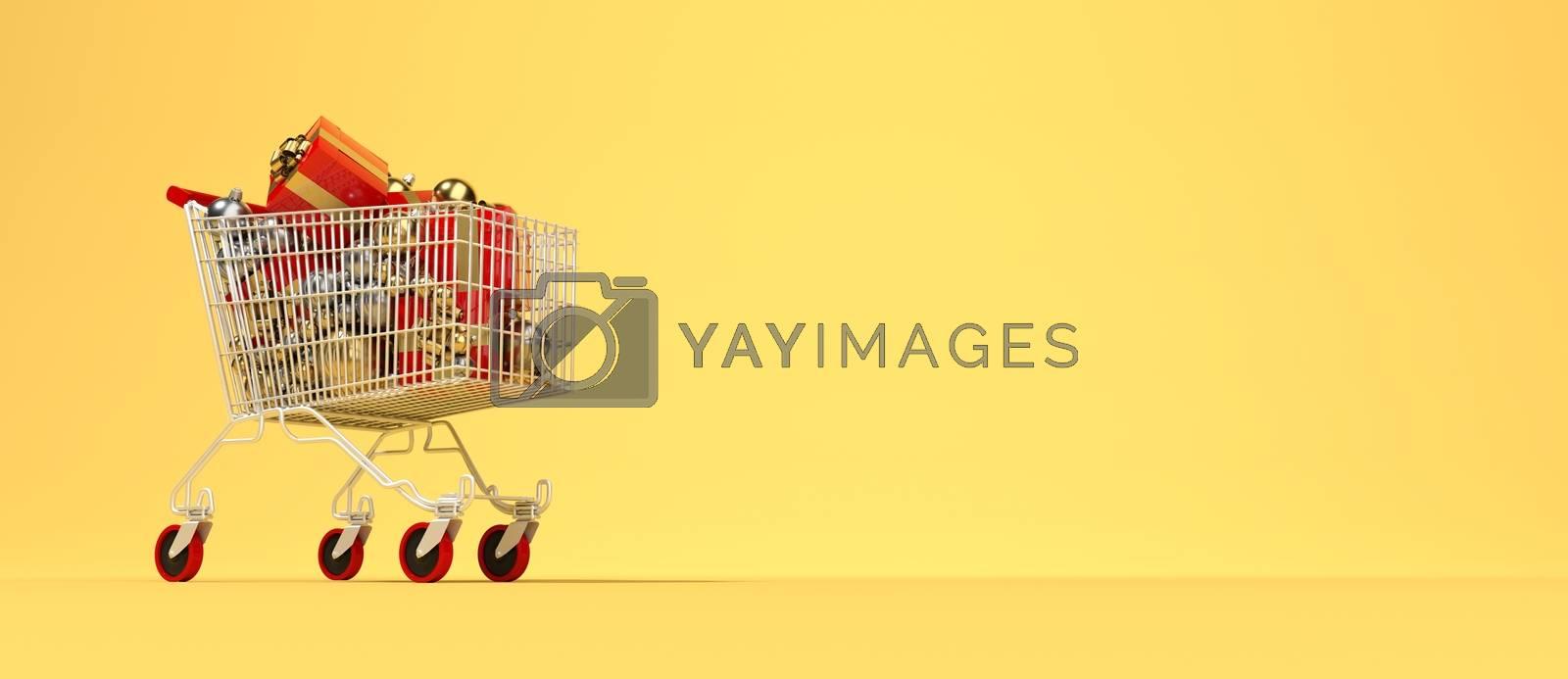3D rendering full shopping cart for Christmas