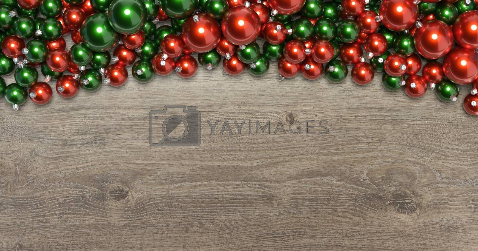 3D rendering christmas balls on wooden background
