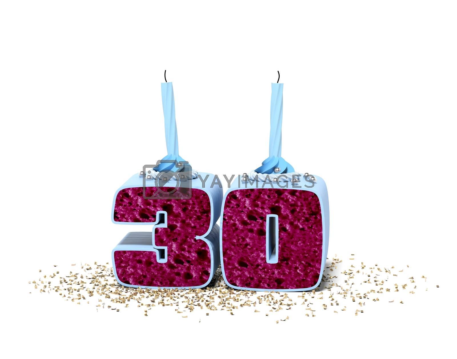 3D rendering 30th birthday cake