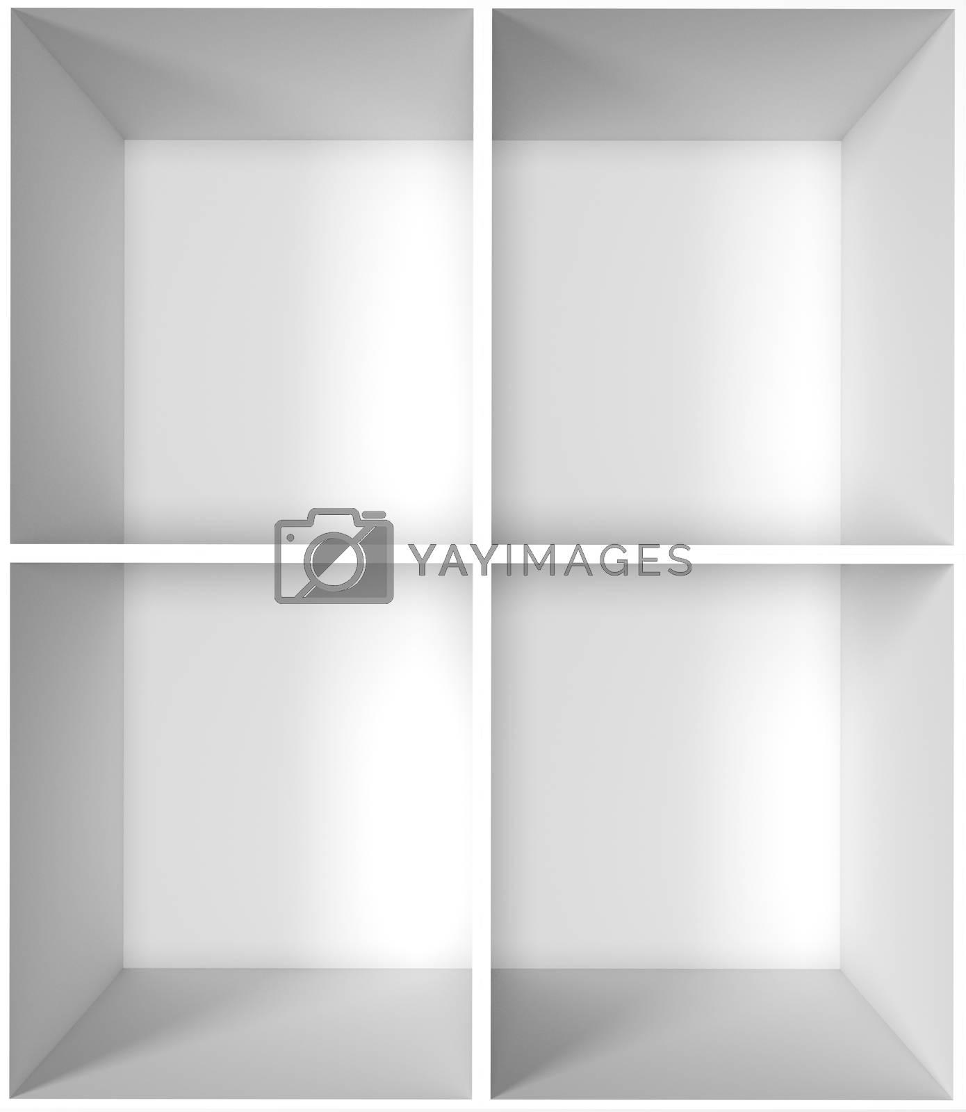 3D rendering empty shelf no background