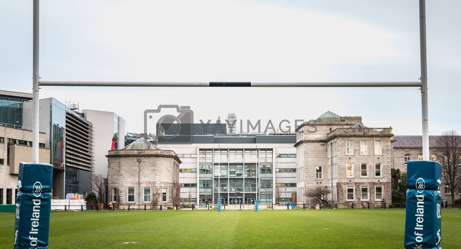 Dublin, Ireland - February 11, 2019: View of Trinity College football field in historic downtown on a winter day