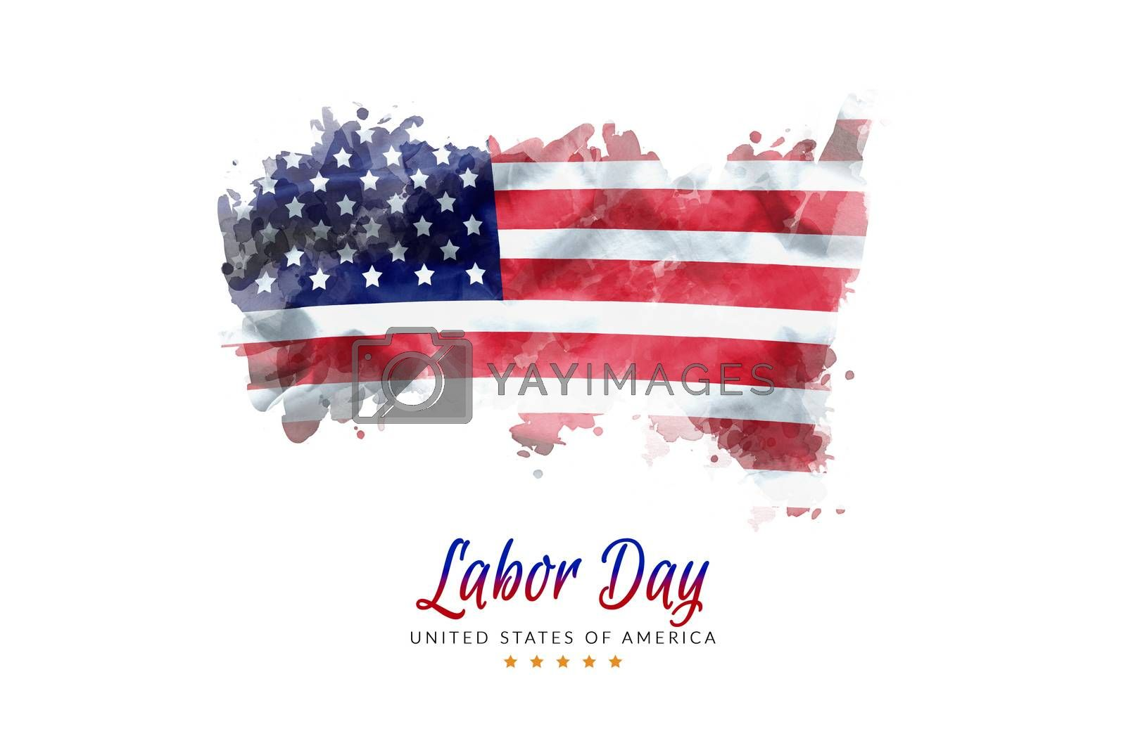 USA Labor Day greeting card with american flag grunge background
