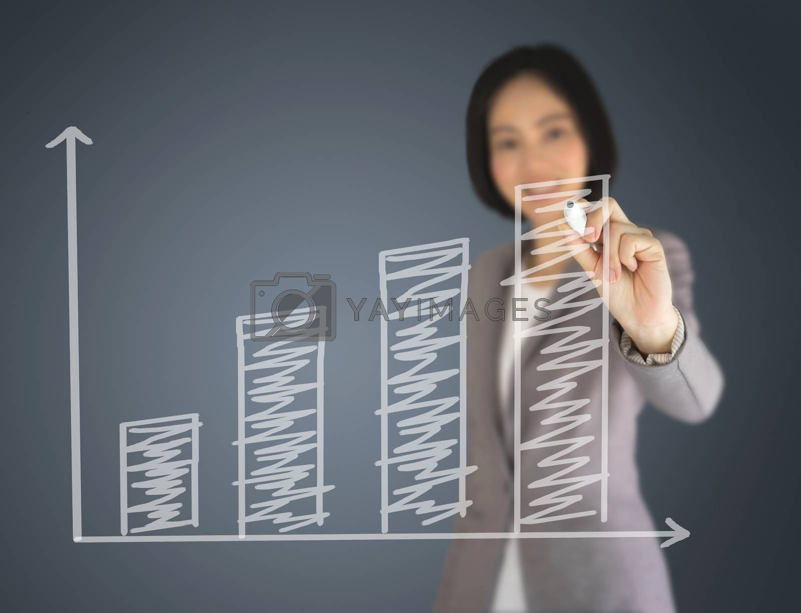 Business woman writing on graph
