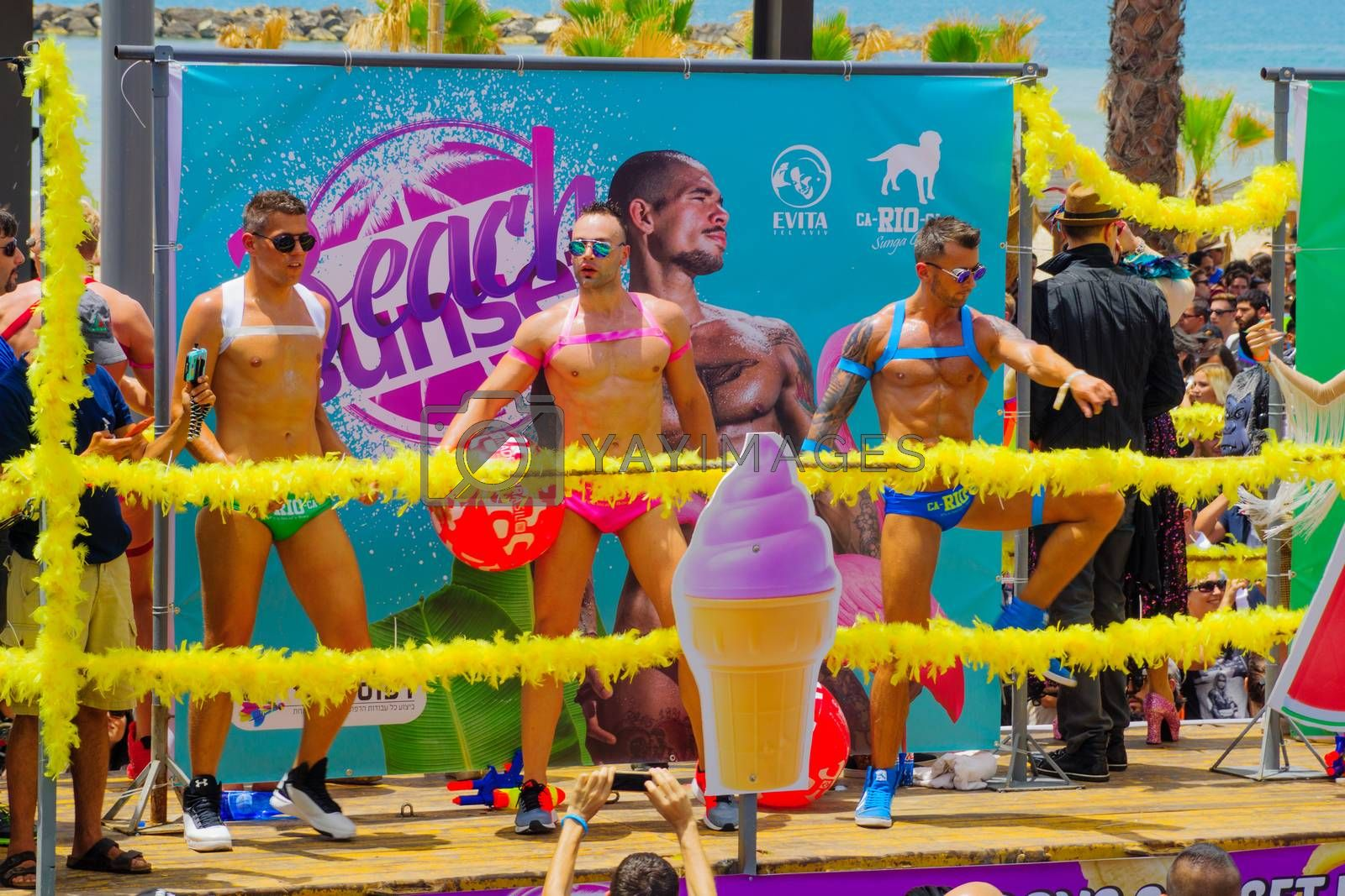 TEL-AVIV, ISRAEL - JUNE 03, 2016: Dancers on a truck entertain the crowd in the Pride Parade in the streets of Tel-Aviv, Israel. Its part of an annual event of the LGBT community