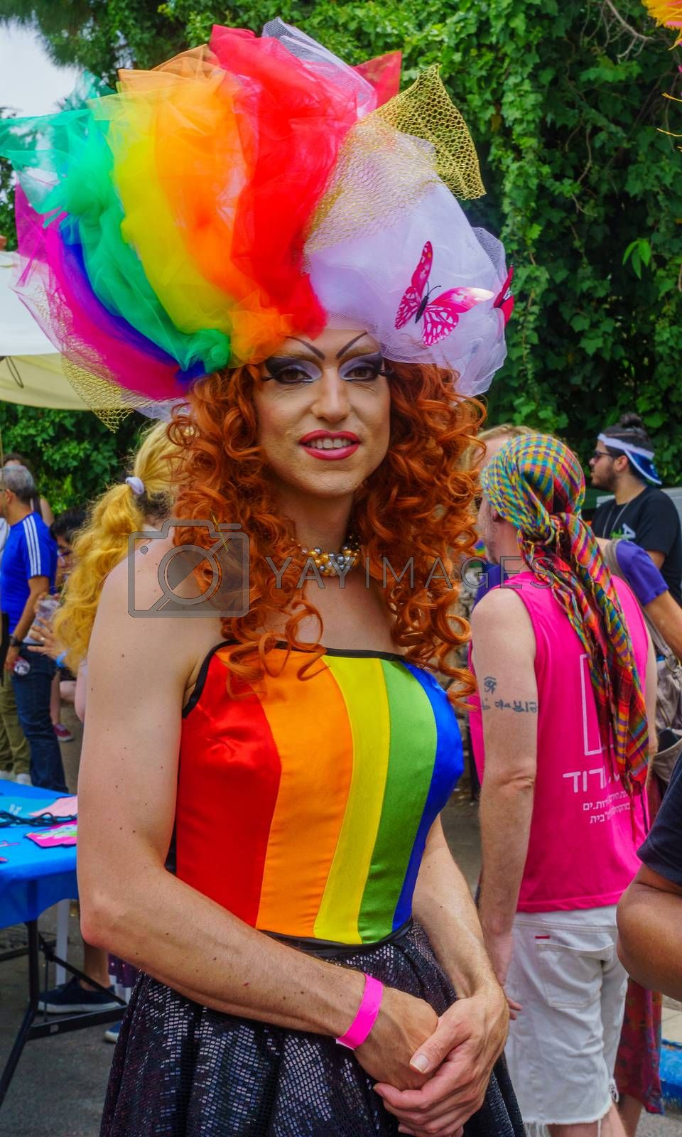 Haifa, Israel - June 28, 2019: Portrait of a participant in the annual pride parade of the LGBT community, in the streets of Haifa, Israel