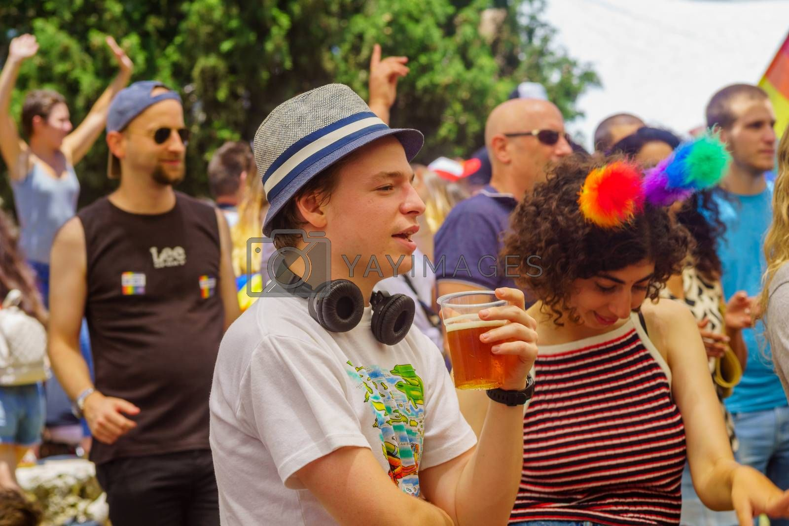 Haifa, Israel - June 28, 2019: Portraits of participants in the annual pride parade of the LGBT community, in the streets of Haifa, Israel