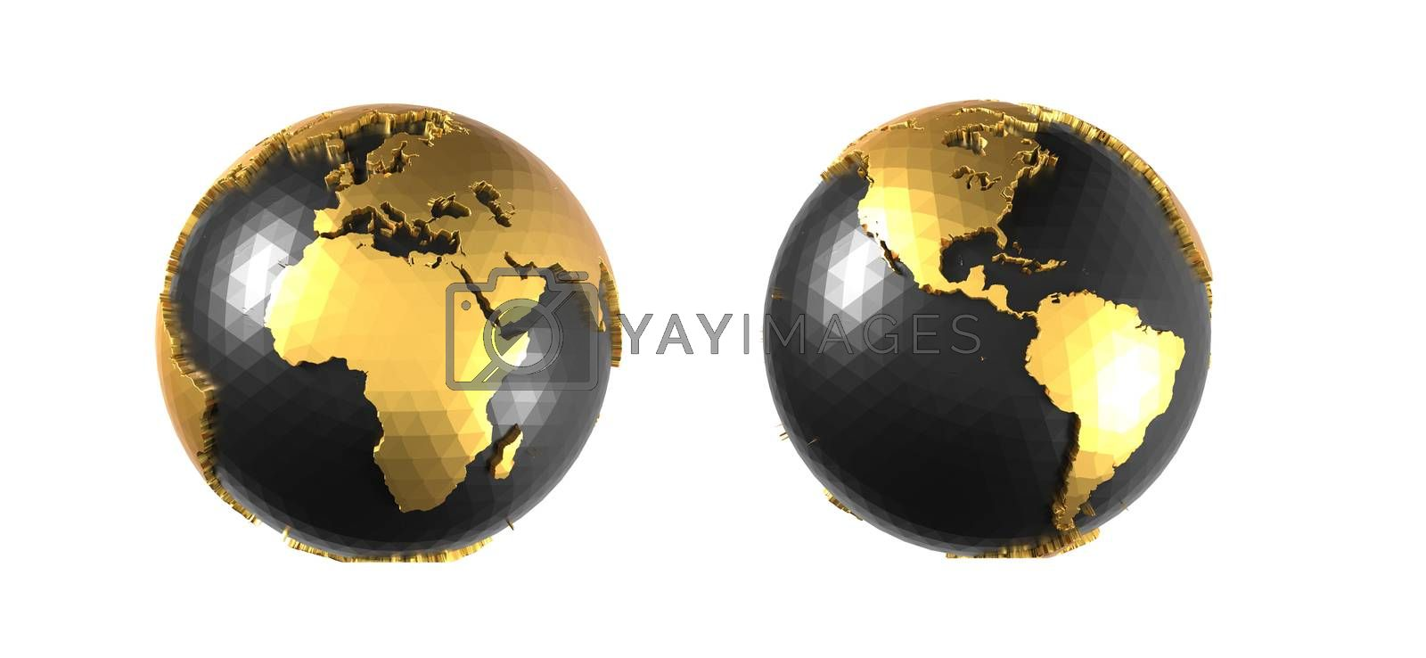black and gold earth on white background 3D rendering