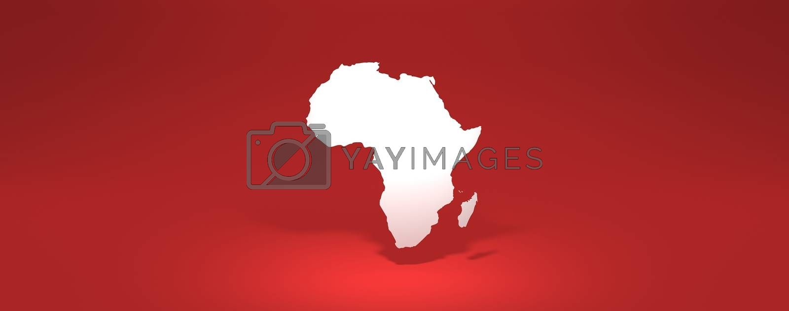 africa modern map 3D rendering red background with shadow