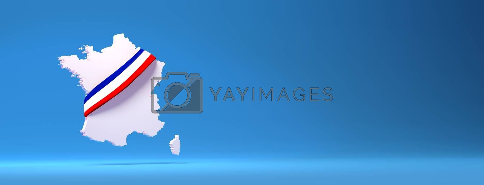 3D rendering white french map on blue background