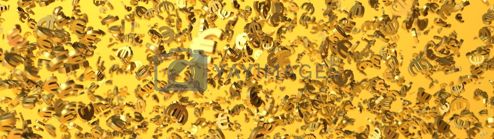 3D rendering web banner with multiple euro signs