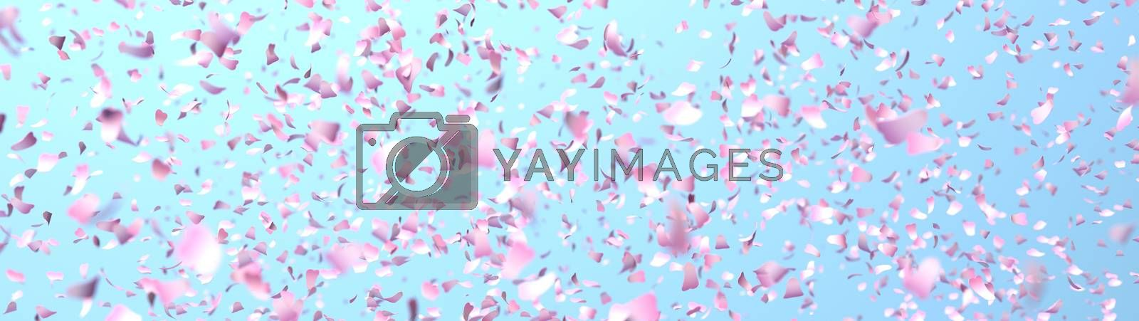 cherry petals in the wind, blue background, 3D rendering