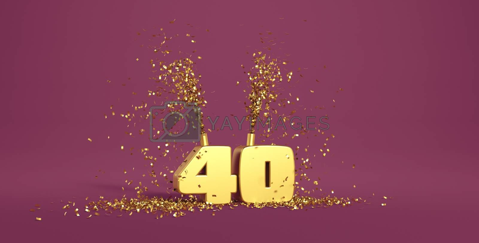 40 years old, word in 3D golden on a purple background