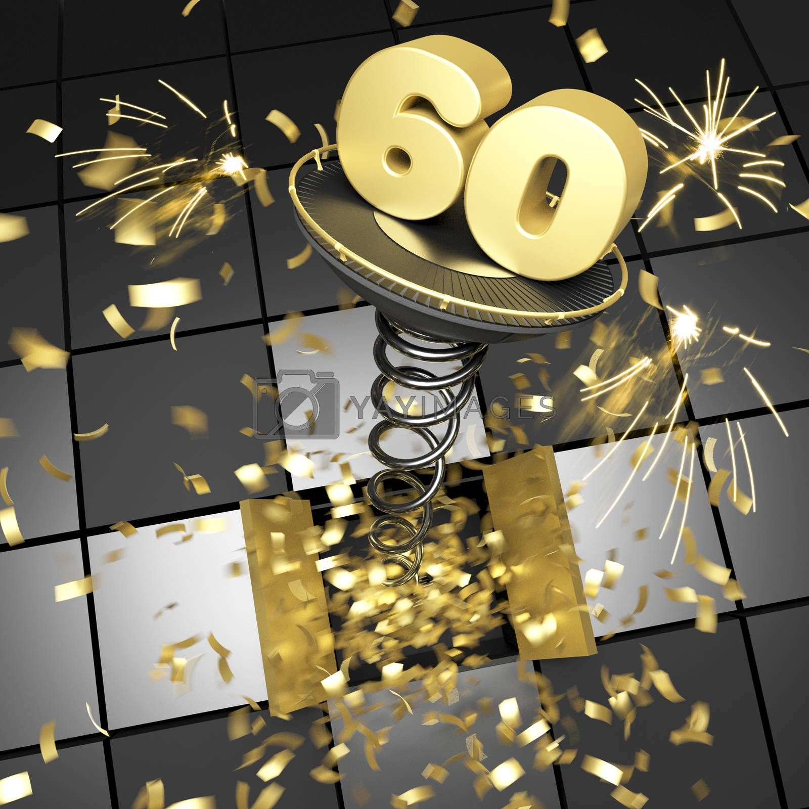 60th anniversary golden number on spring