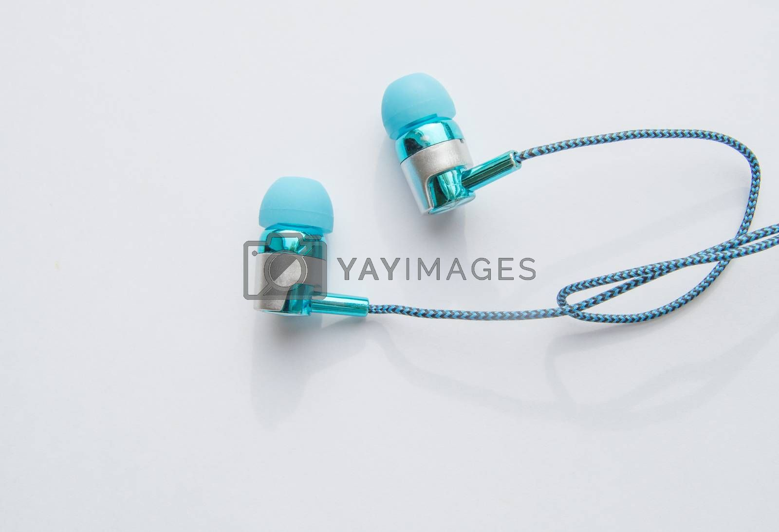 Close-up portable headphones for smart work online meetings and conference calls, devices for the phone.