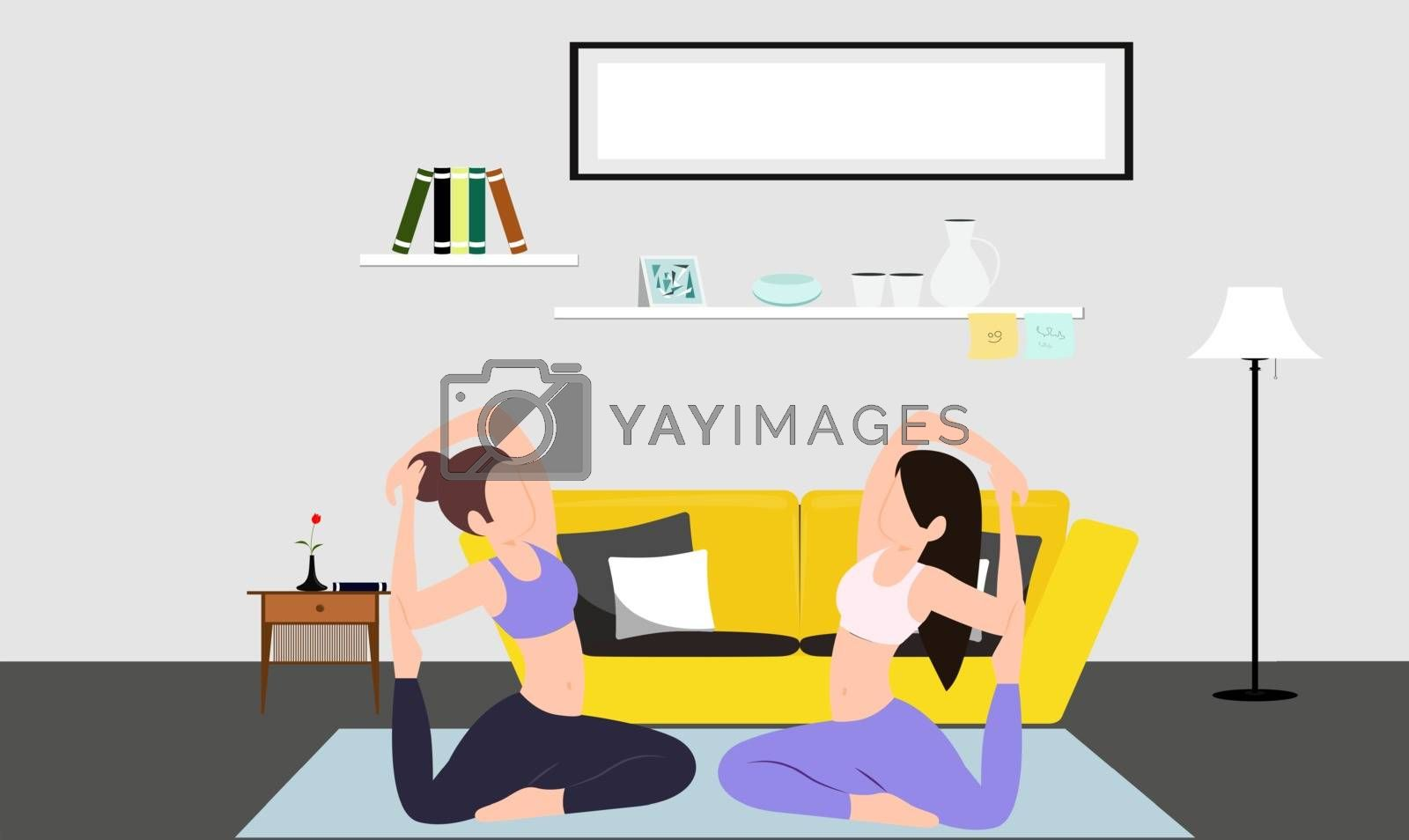 girls are doing exercise at home