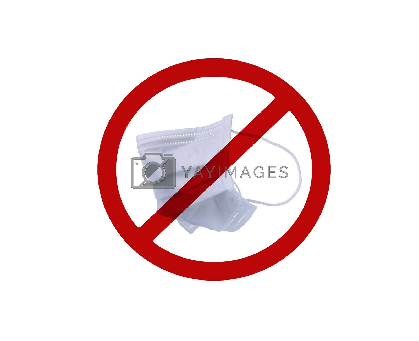 Used white surgical face mask in red forbidden symbol on white background. No discard used medical face mask in this area. Medical waste management with hygienic rule in hospital and community.