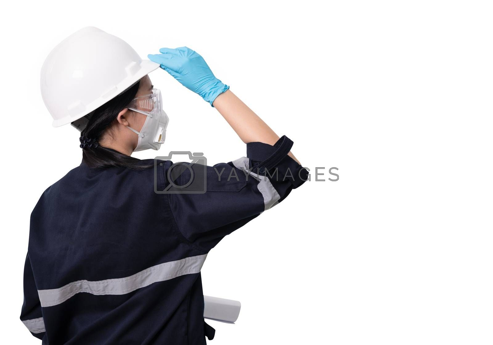 Female engineer wearing protective mask and glove to protect against Covid-19 isolated on white background with clipping path