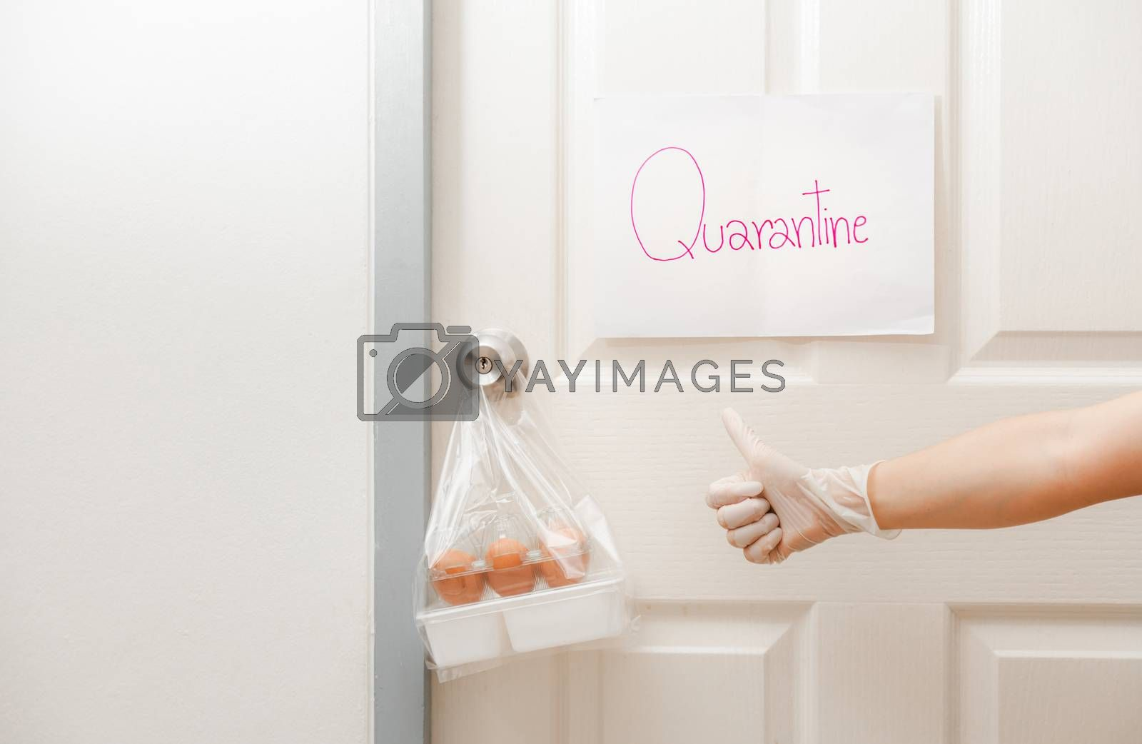 Self Quarantine to Virus Outbreak befor Pandemic of Coronavirus (2019-nCoV) or (COVID-19). Member of family brought food delivered to the virus COVID 19 Quarantine room at home.