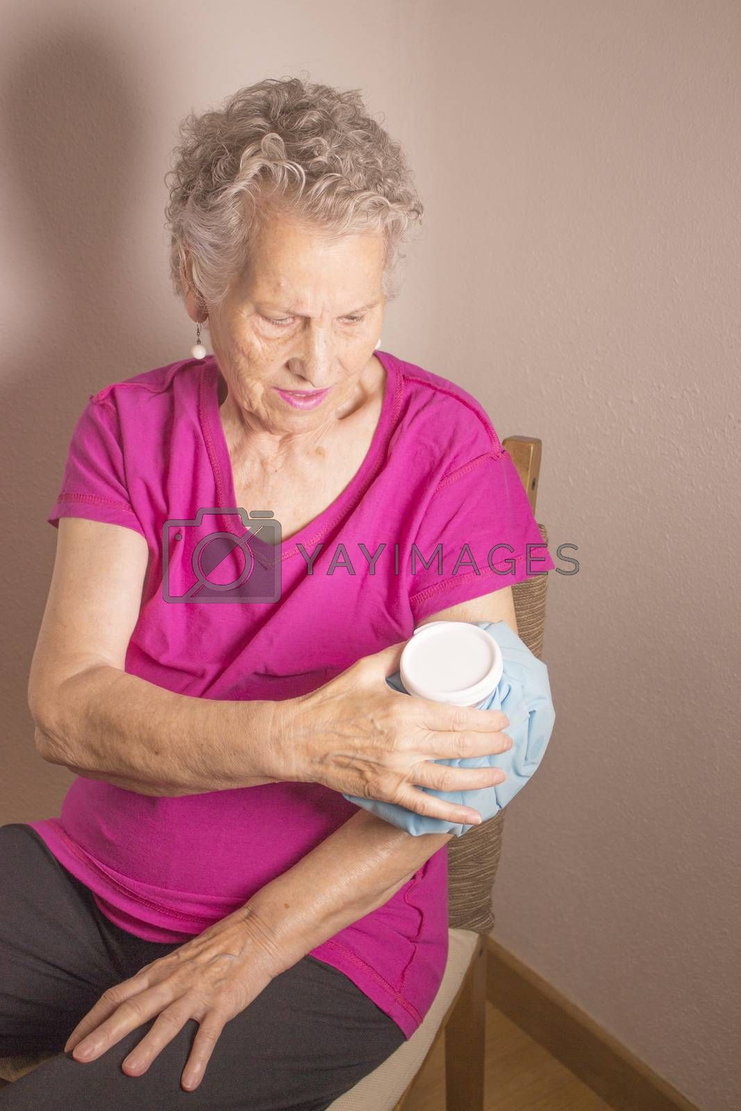 Old woman with shoulder and arm pain by GemaIbarra