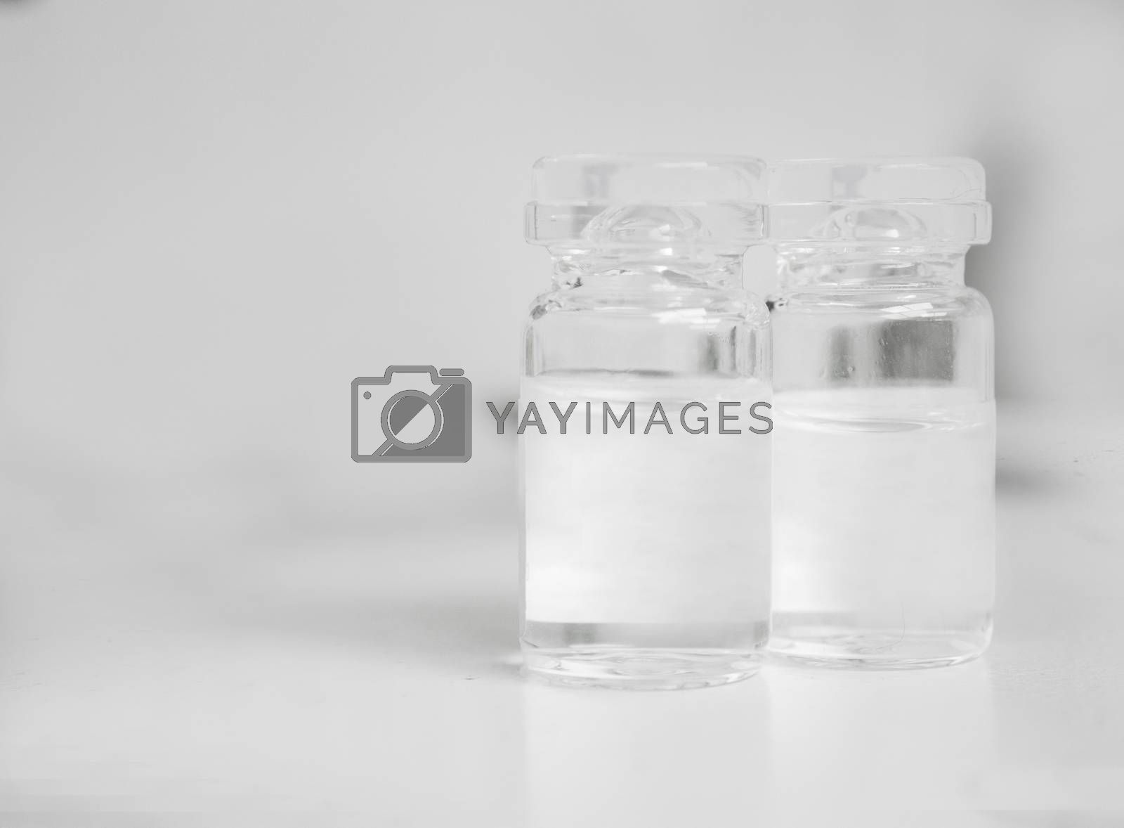 Vial with medicine for animals. No people