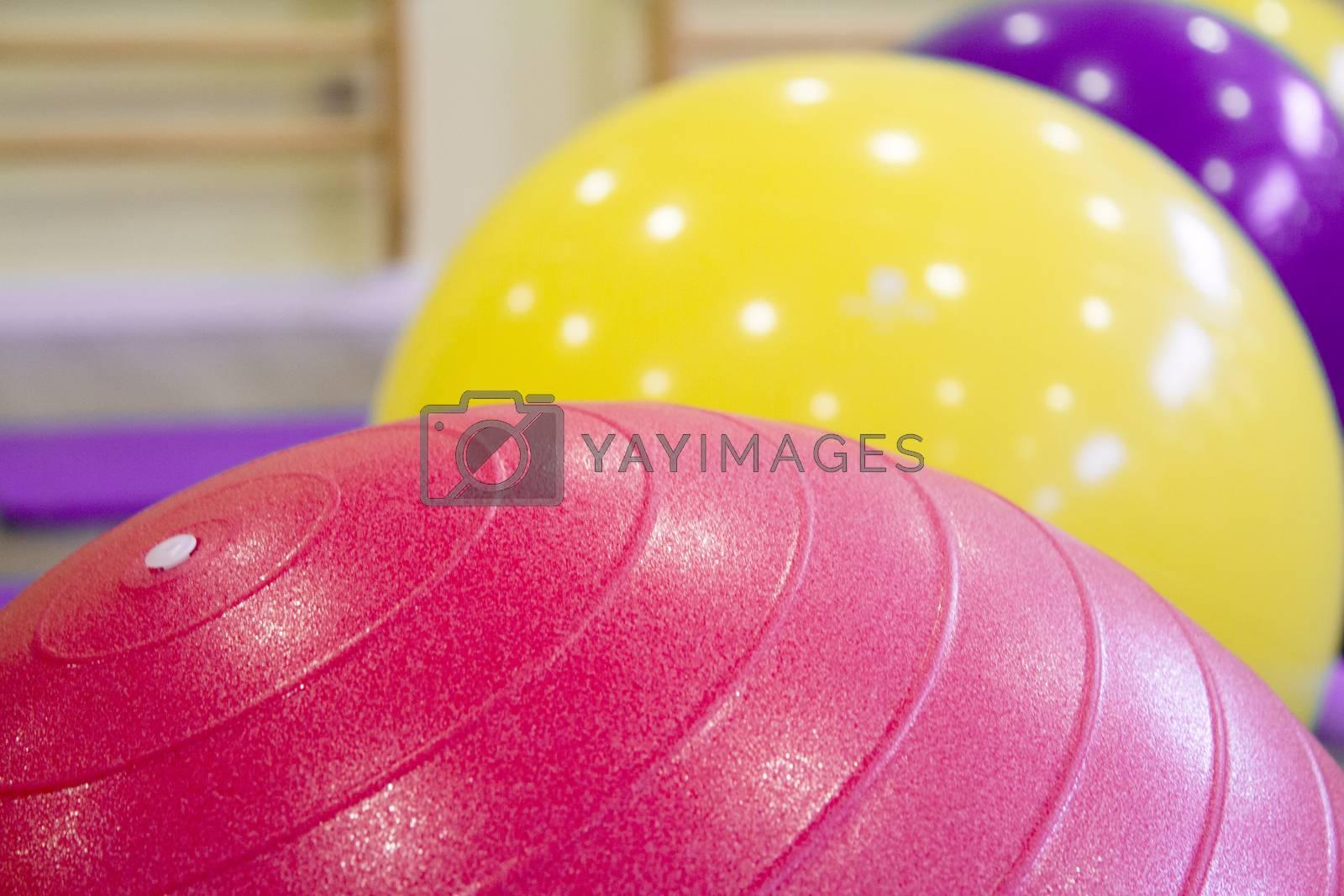 Colored balls for gymnastics and pilates classes