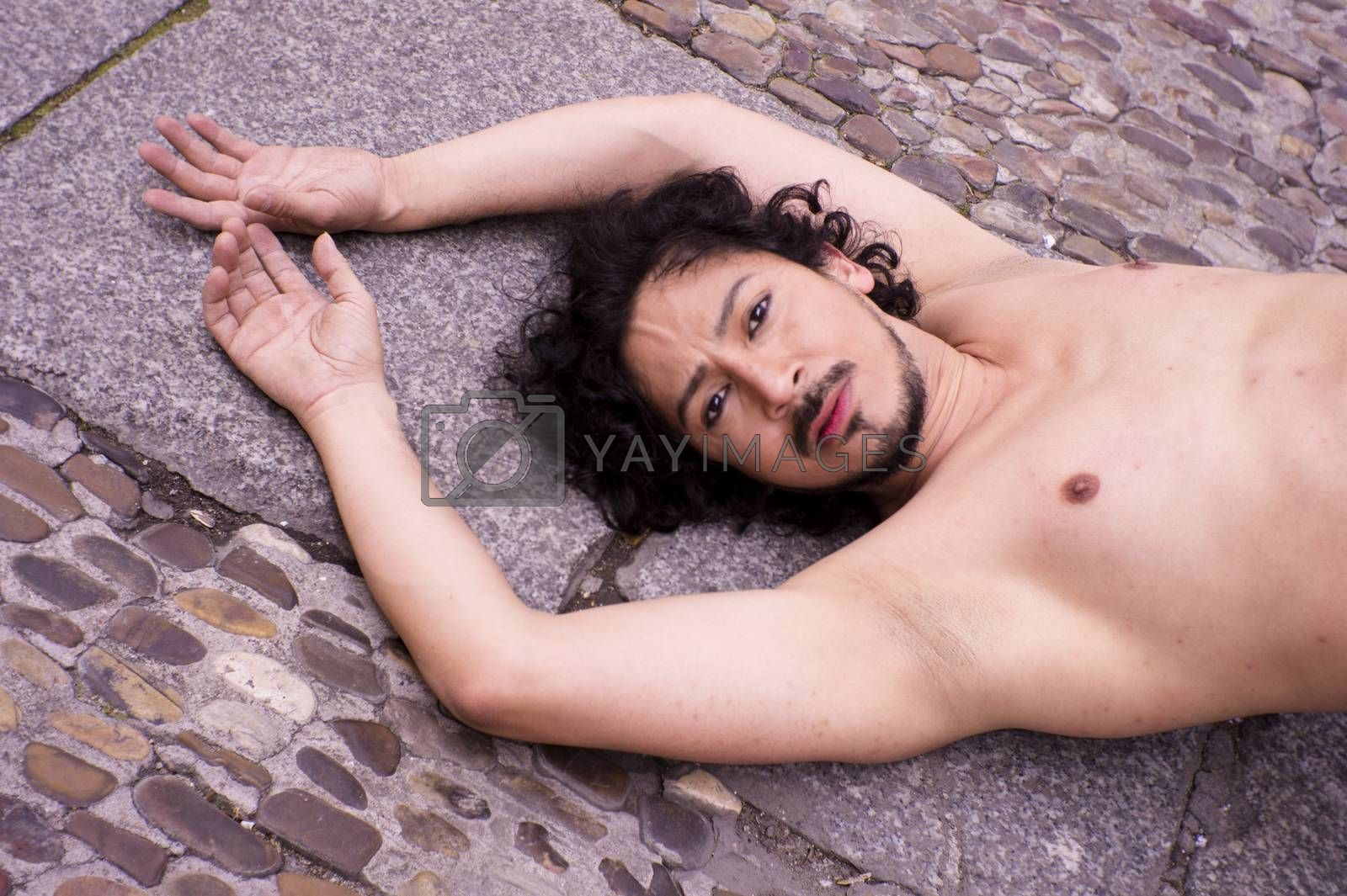 Portrait of latin man with beard and curly black hair by GemaIbarra