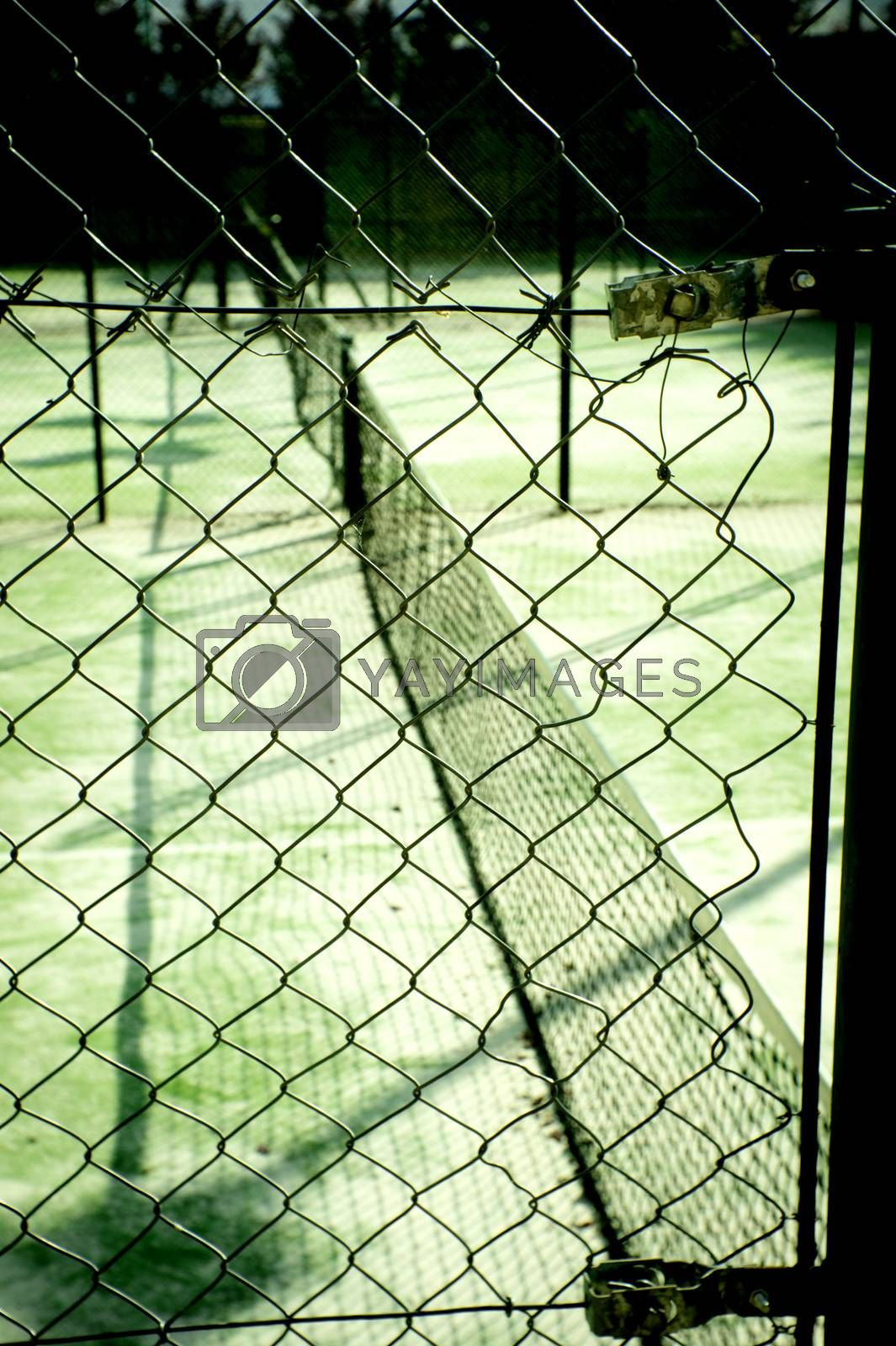 Abandoned tennis court. No people