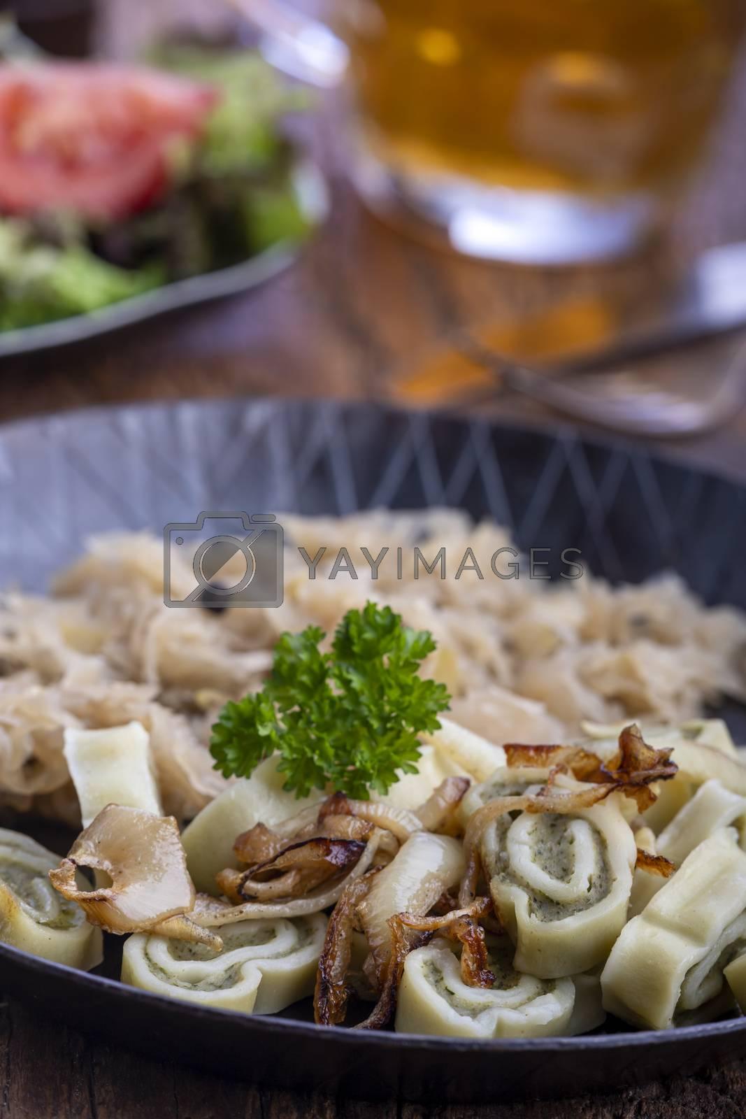 bavarian maultaschen pasta in a pan