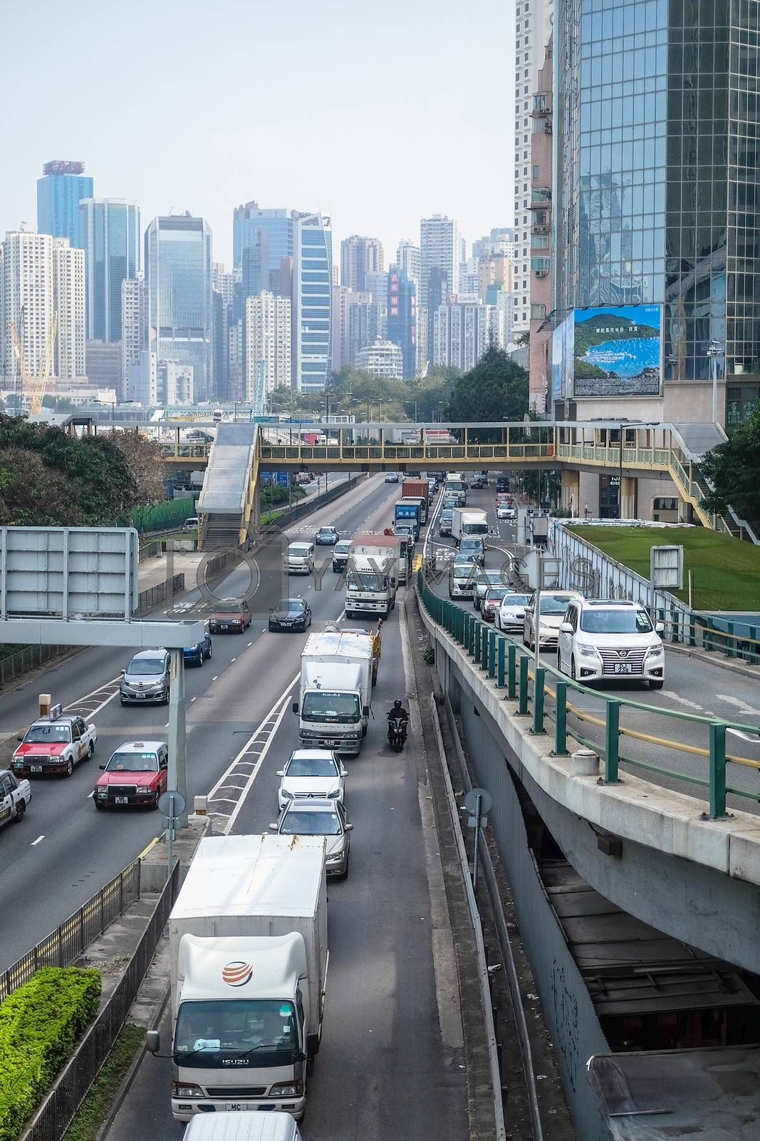 HONG KONG, JAN 14 : the cars is in queue in the traffic jam in Central on 14 january 2016