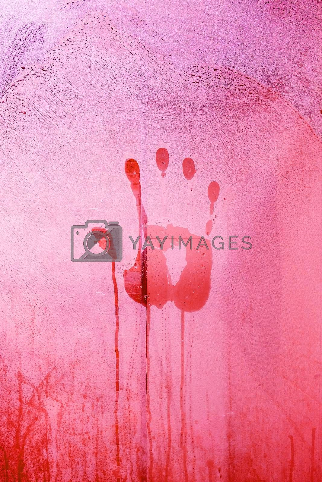 Red Hand Print on the Bathroom Mirror with Red tone of light