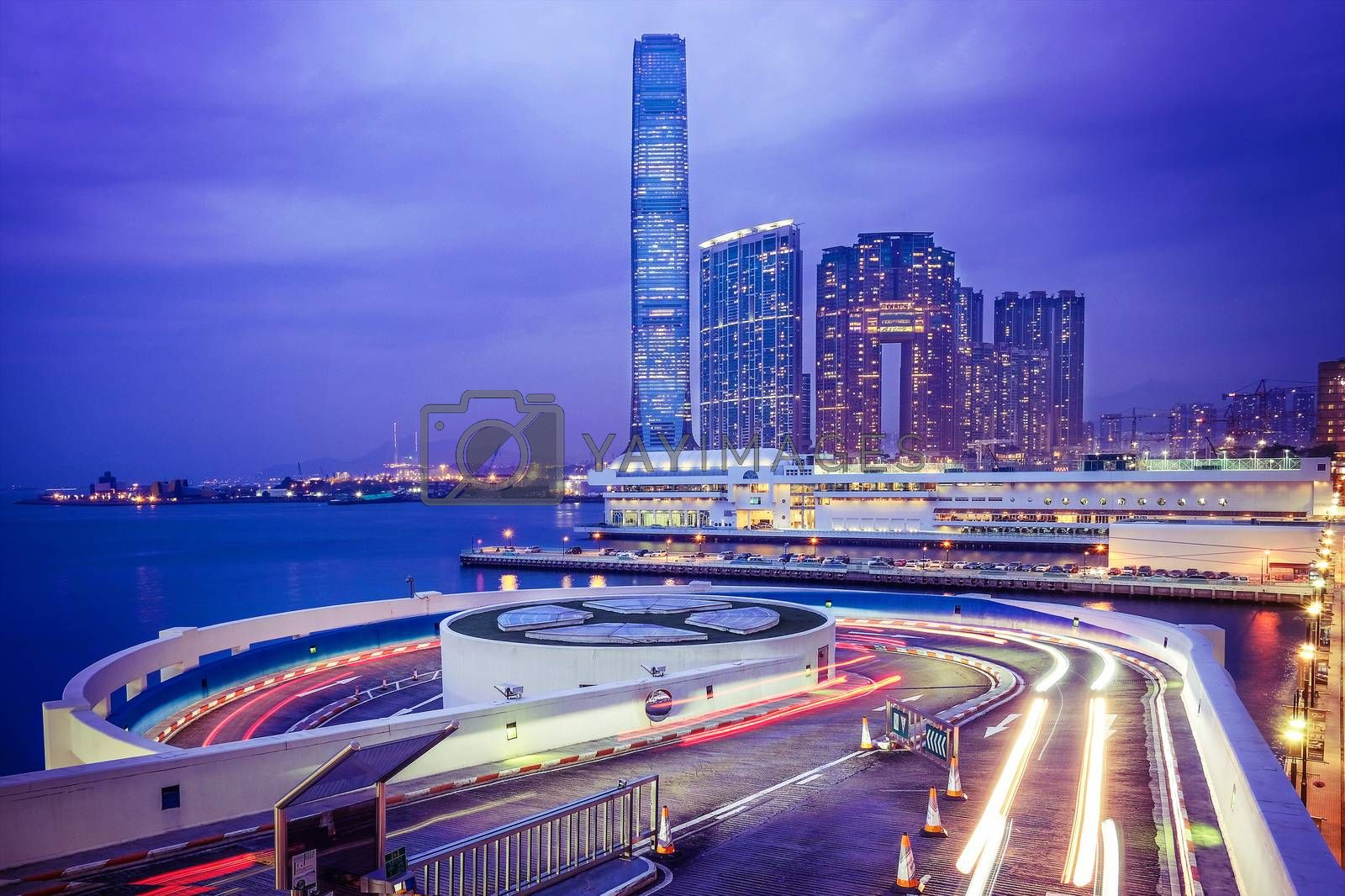 Night view traffic in Hong Kong at sunset time