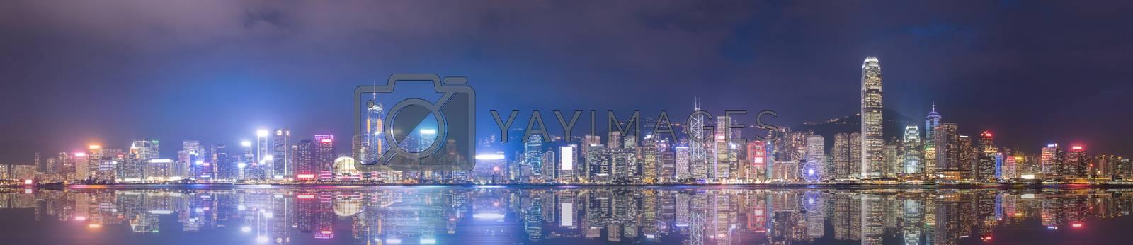 Hongkong Skyline Night View Panorama