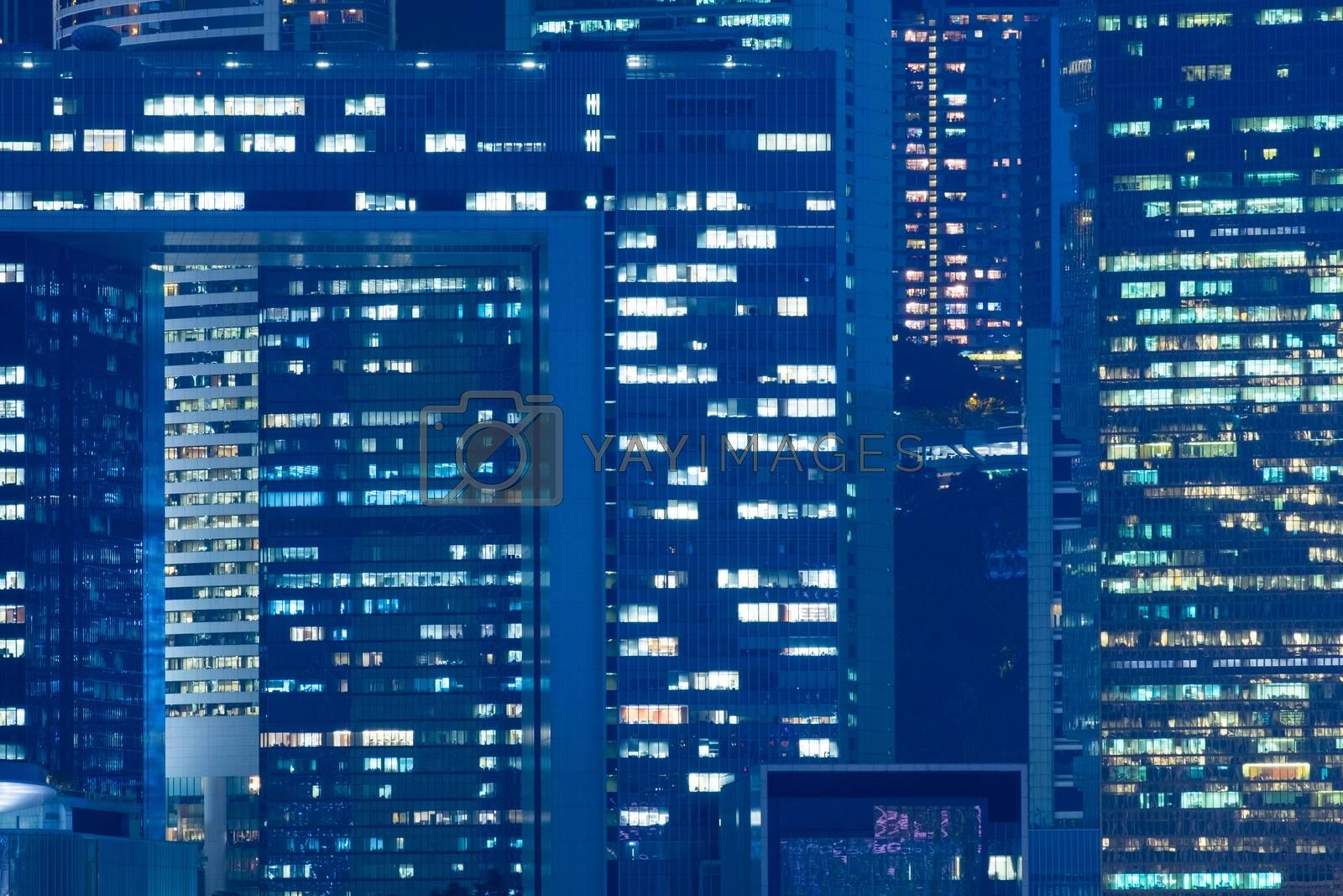 Office building detail in night view