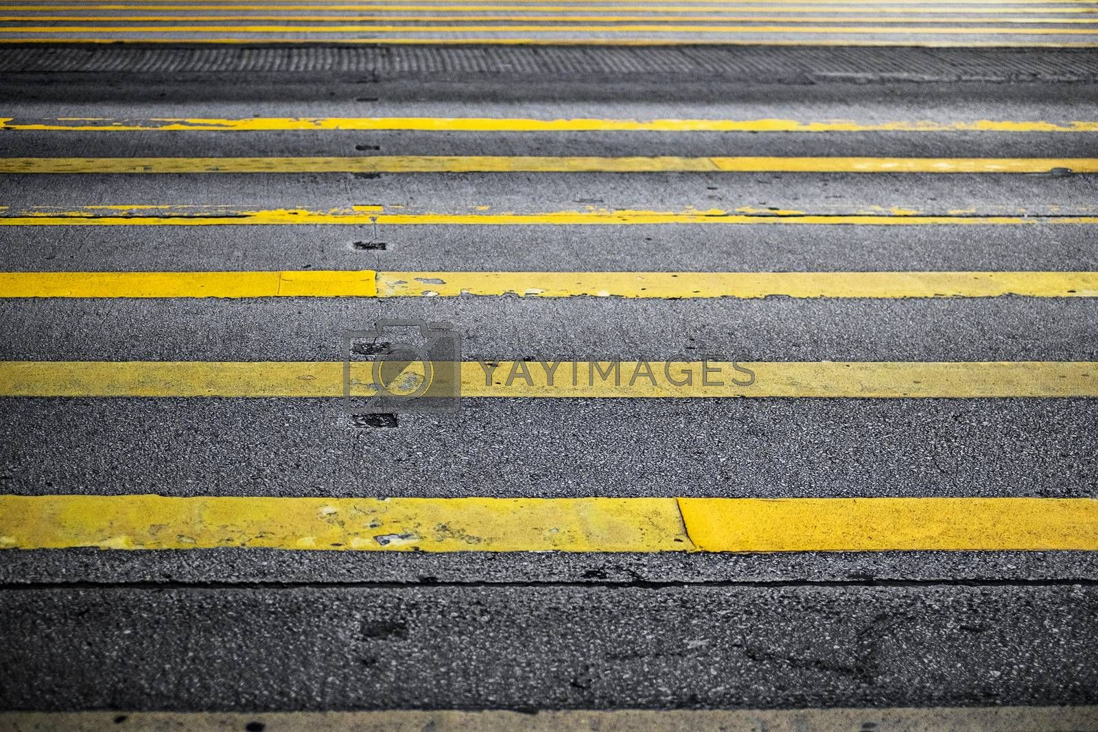 Road Marking Yellow Lines on asphalt