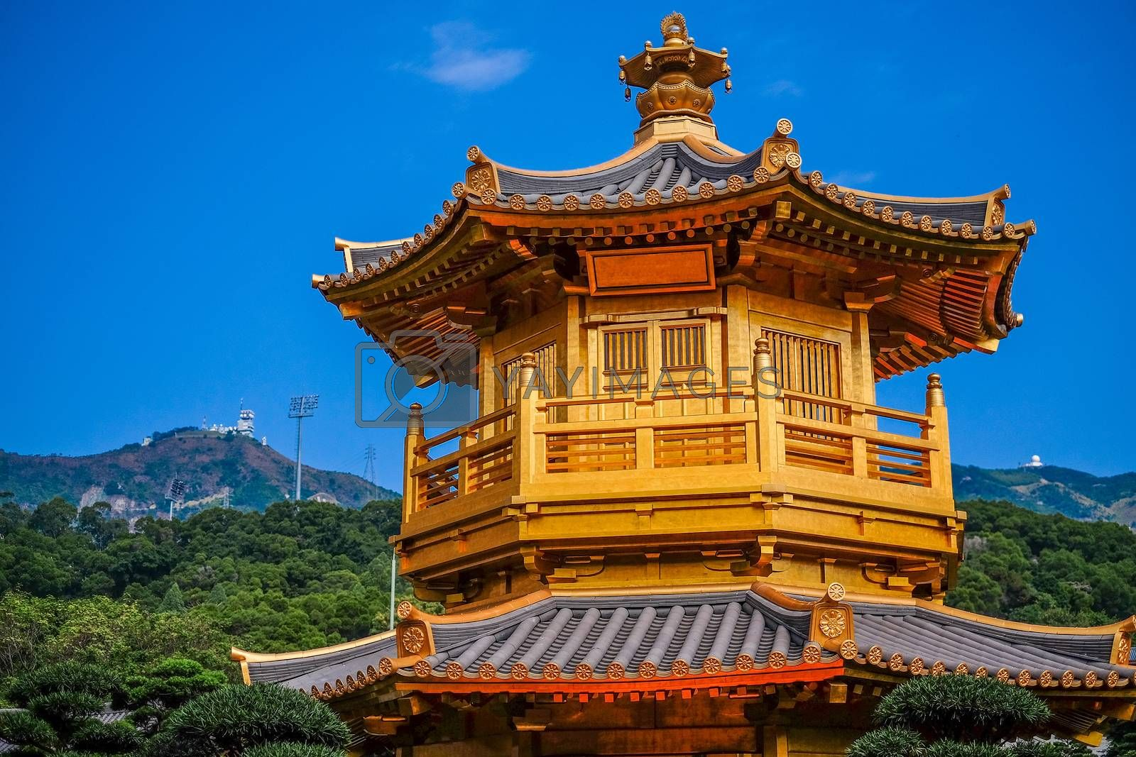 Front View The Golden Pavilion of Perfection in Nan Lian Garden
