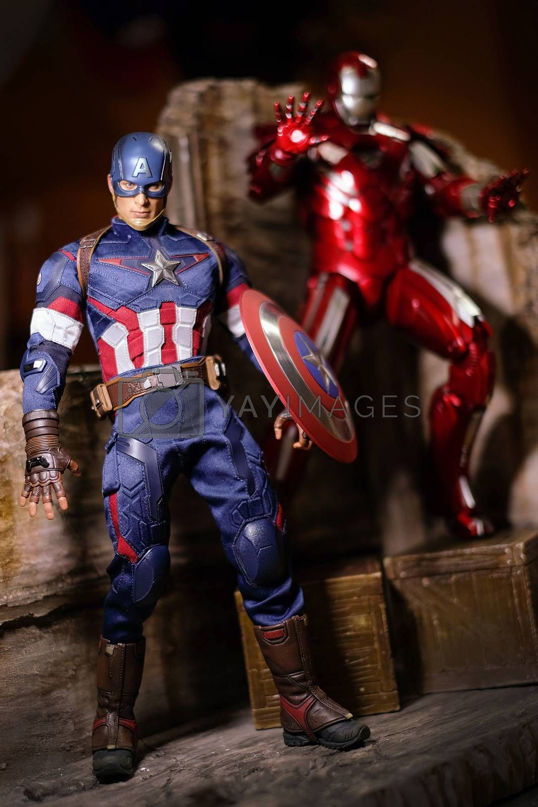 Khonkaen,Thailand - Jan 17th 2016: Caption America and Irons MARK XXXIII man figure 1/6 standing gracefully. Caption America and Iron Man is a popular line of construction toys manufactured by the Hottoy Group.