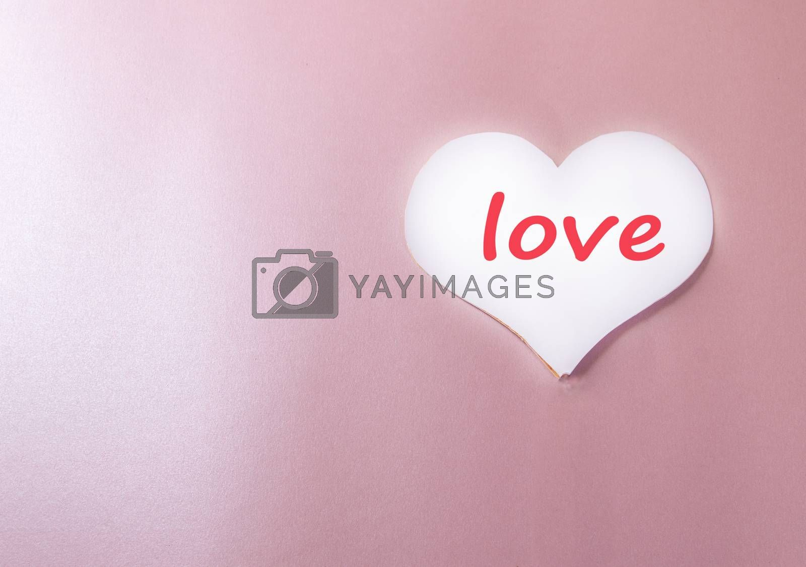 White background with paper heart and the words LOVE pink background heart, love, holiday greeting card, a minimum of creative idea of a holiday Valentine's day, space for copy by Claire Lucia