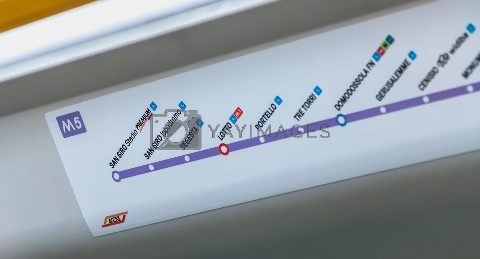 MILAN, ITALY - November 2, 2017: Inside the subway, a map shows the stations of the M5 line on a fall day