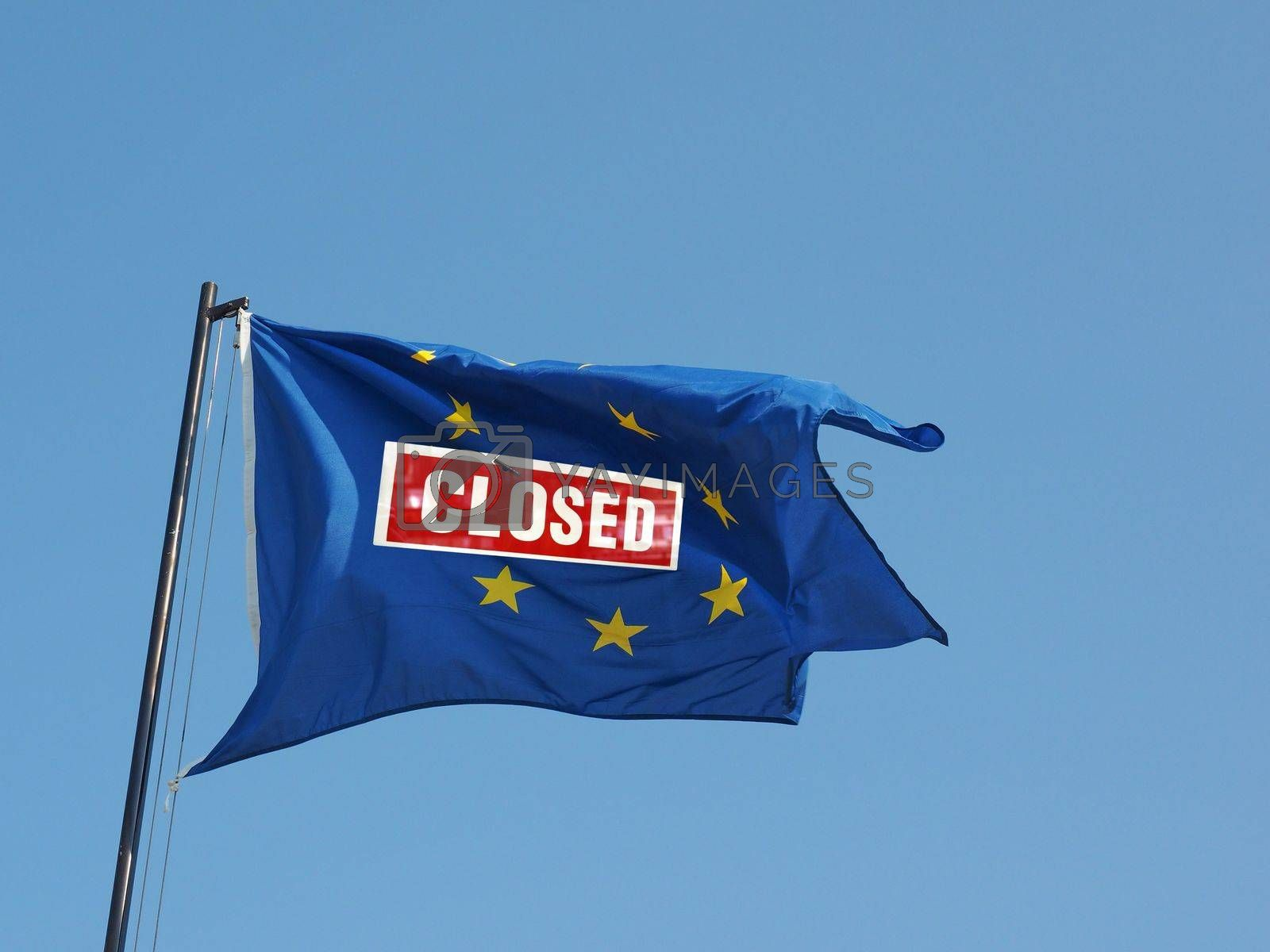 European Union flag with a closed sign