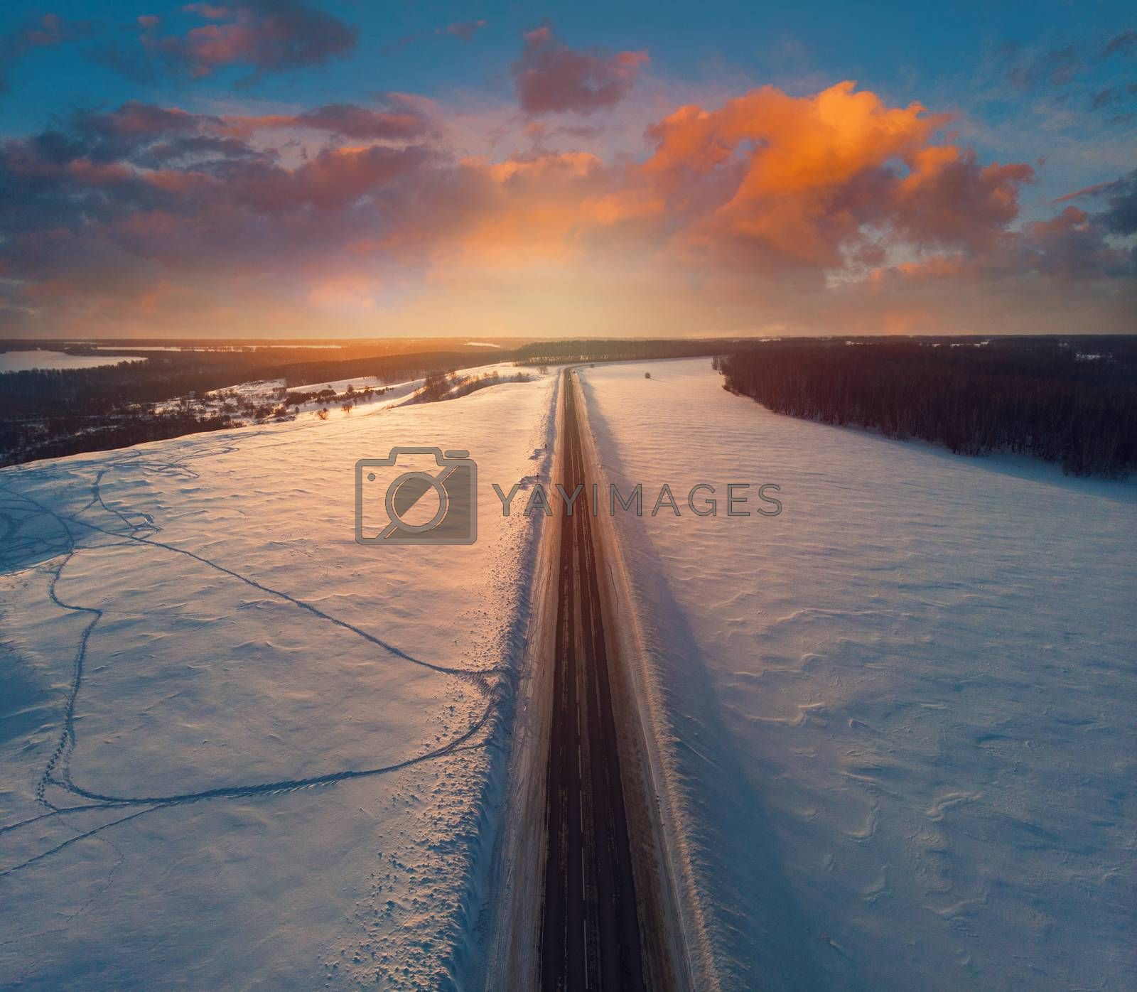 Royalty free image of Aerial view of a winter road by rusak