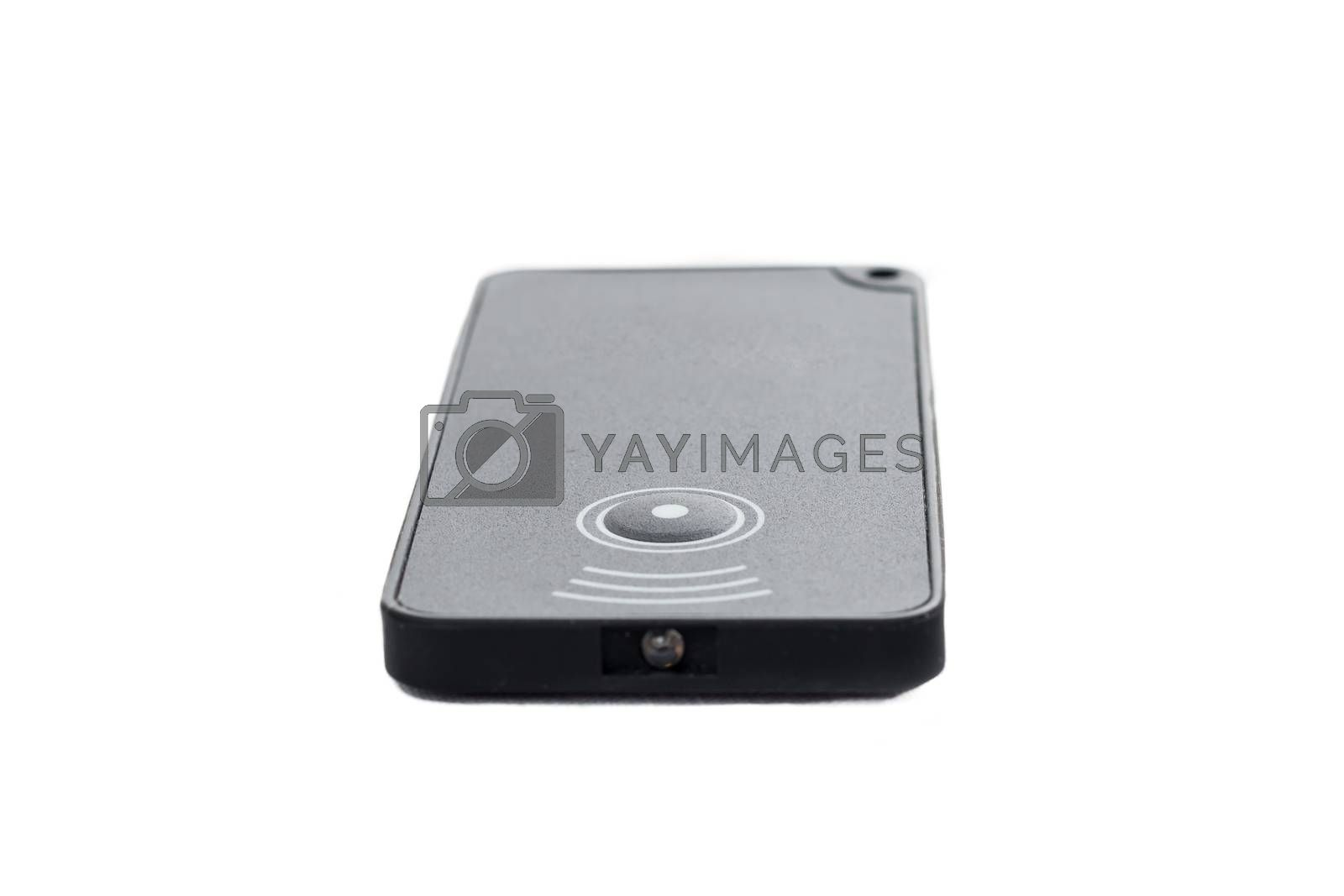 infrared remote control with a button on white background  in studio
